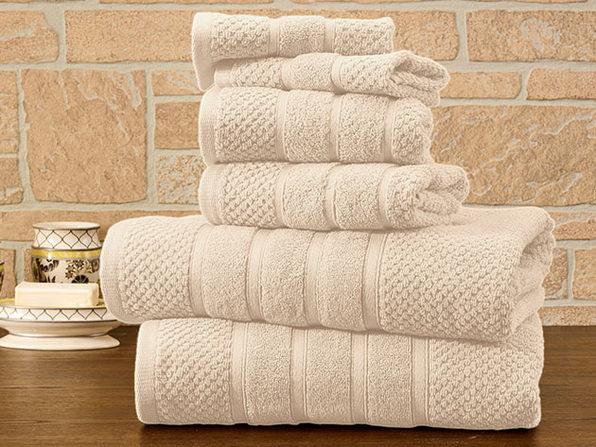6-Piece Bibb Home Cotton Towel Set (Ivory) - Product Image