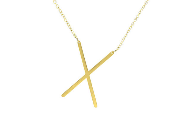 """18K Gold Plated Letter """"X"""" Necklace"""