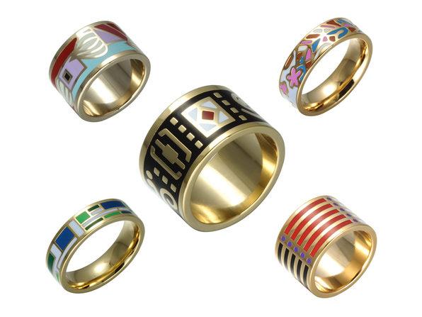 Homvare Women's Gold Plated Handmade Enamel Ring Size 7 - Blue