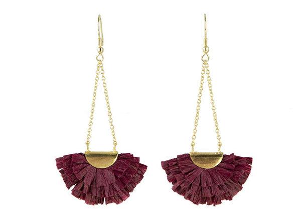 Raffia Fan Drop Earrings