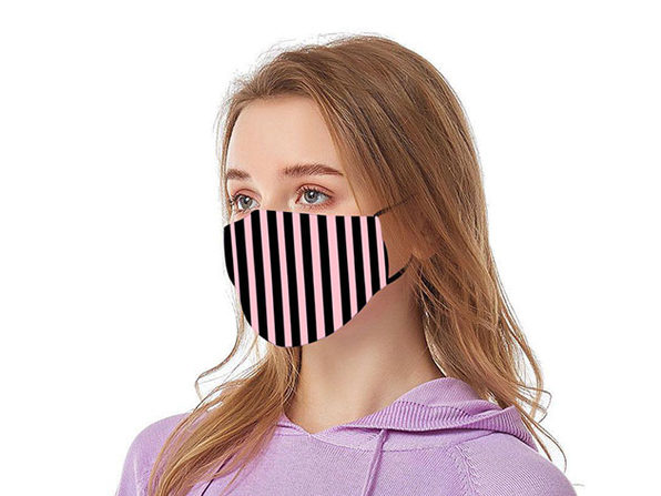 Reusable Ear Loop Face Mask 2-Pack Black & Pink Stripes - Product Image