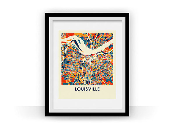 Louisville Prussian Color Map Prints (18 x 24)