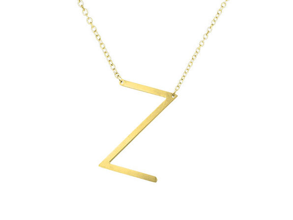 14K Gold Plated Letter Necklace - Z - Product Image