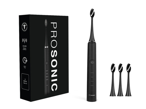 ProSonic Ultra Whitening Sonic Toothbrush with 4 Brush Heads: 2-Pack