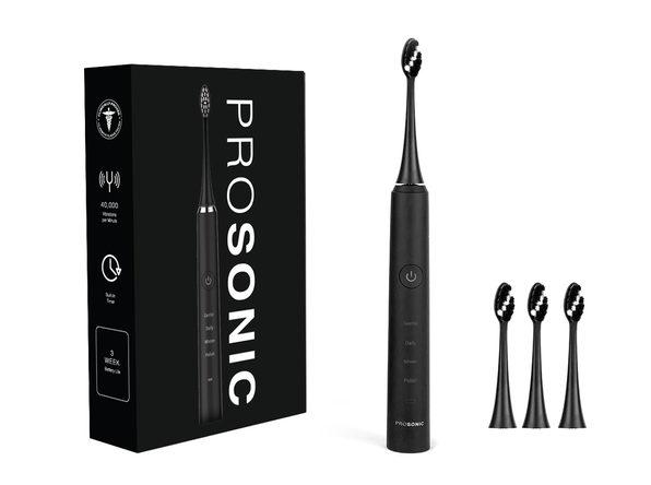 ProSonic Ultra Whitening Sonic Toothbrush with 4 Brush Heads: 2-Pack