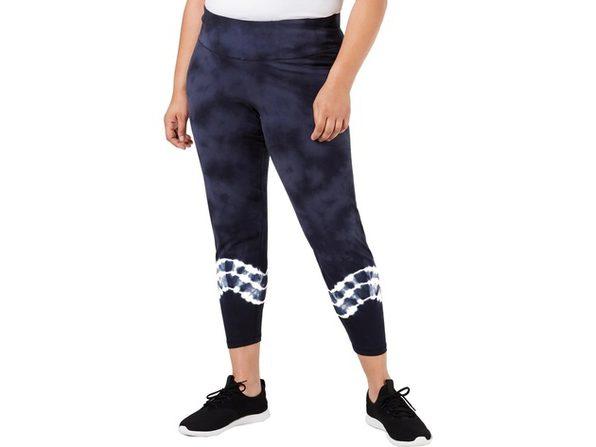 Ideology Women's Plus Tie-Dyed Leggings Navy Size Extra Large