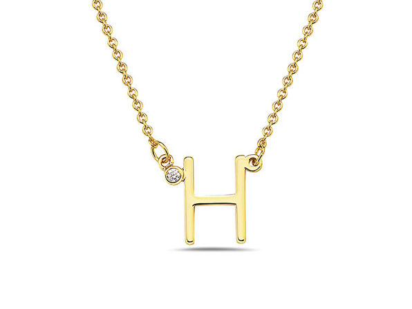 18K Gold Plated CZ Initial Necklaces - H - Product Image