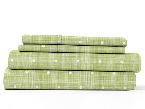 Home Collection Ultra Soft Polka Dot Pattern 4-Piece Sheet Set (King/Green)