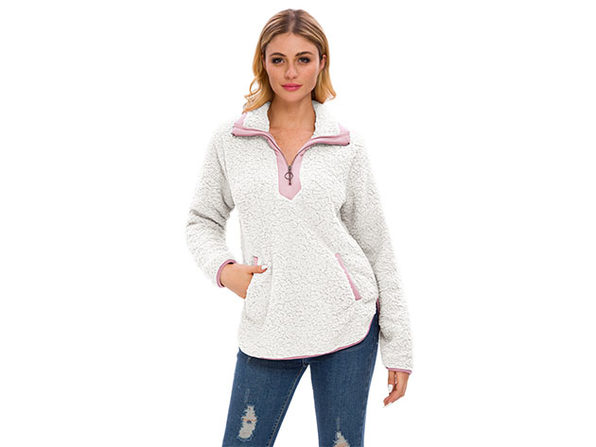 White Loose Sherpa Pullover Stand Collar with Pockets