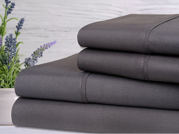 Bamboo 4-Piece Lavender Scented Sheet Set (Grey/Full)